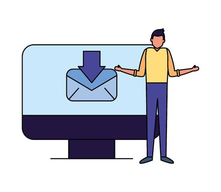 businessman work office computer email vector illustration