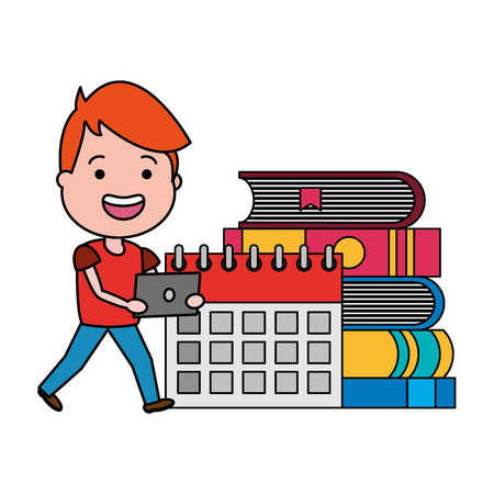 young guy with laptop calendar and books tech vector illustration