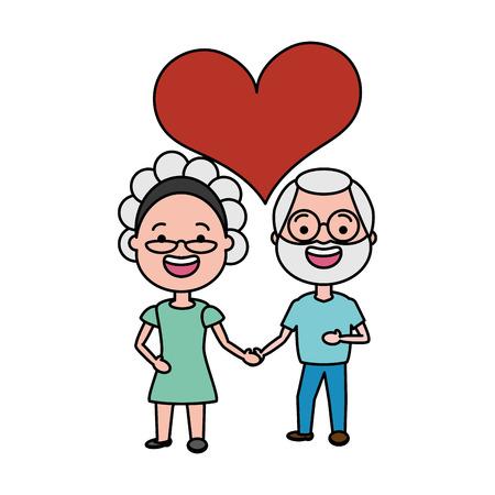 Anciano y mujer tomados de la mano aman ilustración vectorial Ilustración de vector