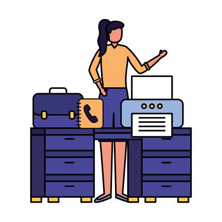 business woman work office desk printer book vector illustration Ilustração