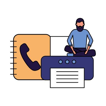 businessman work office printer address book vector illustration 일러스트