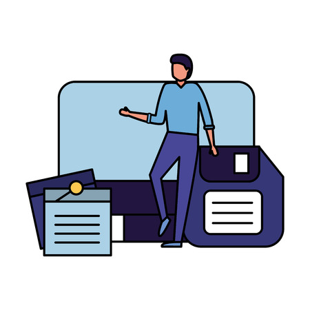 businessman work office computer diskette and note memo vector illustration