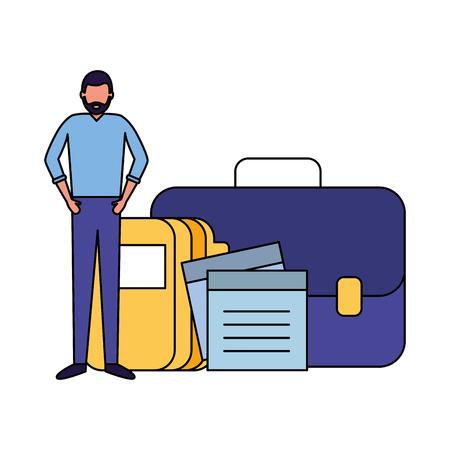 businessman work office portfolio folder note memo vector illustration Banque d'images - 124740803