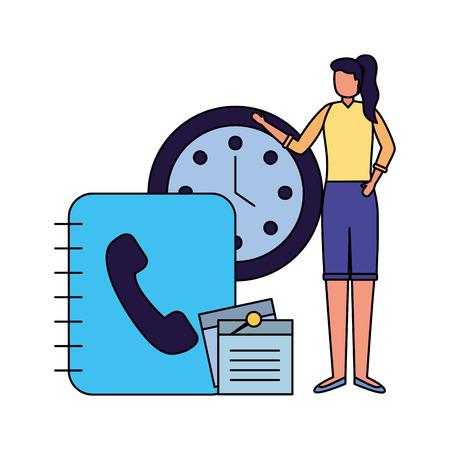business woman work office address book clock vector illustration