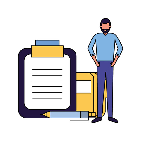businessman work office report file pen vector illustration Ilustração