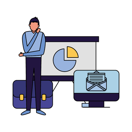 businessman with computer report board briefcase vector illustration  イラスト・ベクター素材