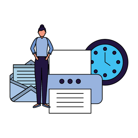 business woman work office printer email clock vector illustration 向量圖像