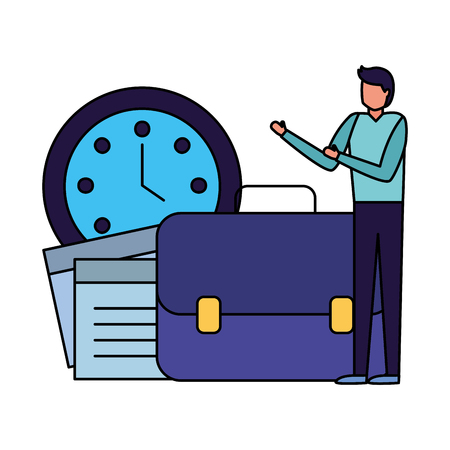 businessman with paper clock briefcase vector illustration Illustration