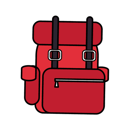 red travel backpack on white background vector illustration