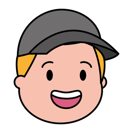 young man head with sport cap vector illustration Illustration