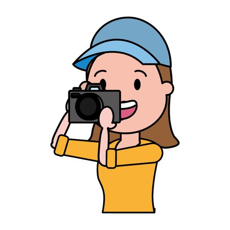 woman tourist taking photo with camera vector illustration