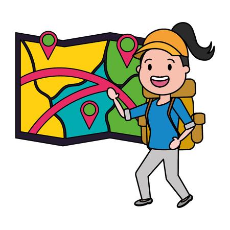 woman with map travel bag tourist vector illustration Çizim