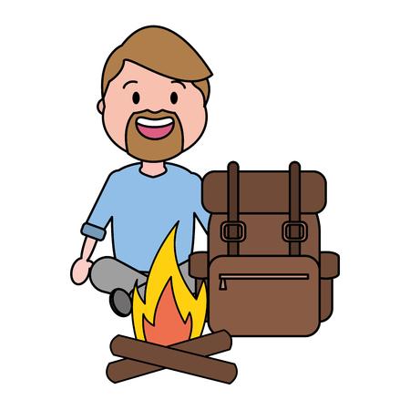 man tourist travel bag bonfire vector illustration Çizim