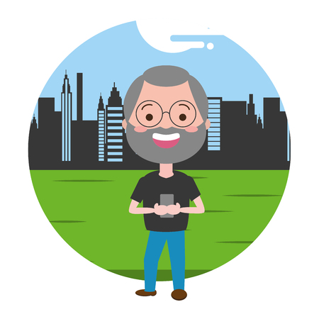 old man using smartphone technology outdoors vector illustration  イラスト・ベクター素材