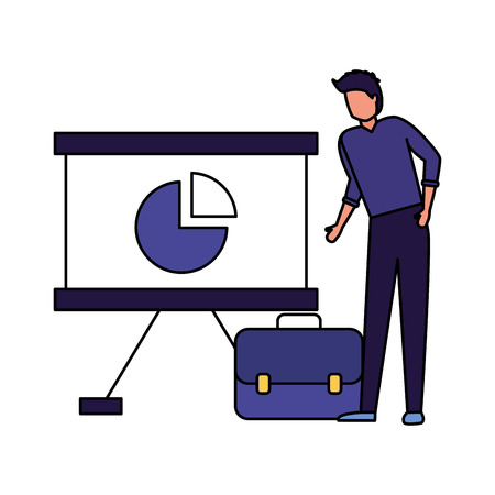 businessman with board report briefcase vector illustration Illustration
