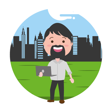 bearded man using laptop technology outdoors vector illustration