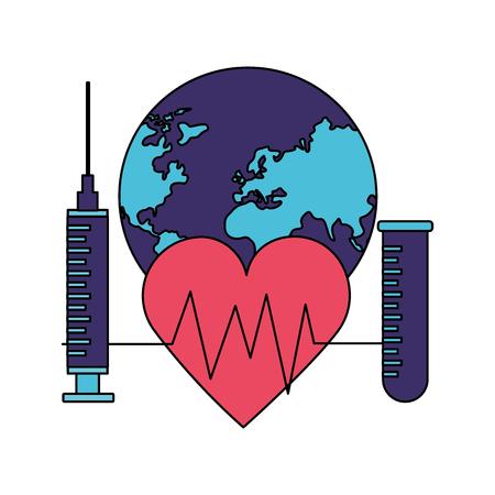 heartbeat syringe and pippete world health day vector illustration Foto de archivo - 124740842