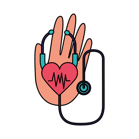 hand stethoscope heartbeat world health day vector illustration