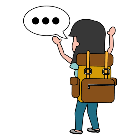 happy woman travel bag tourist vector illustration