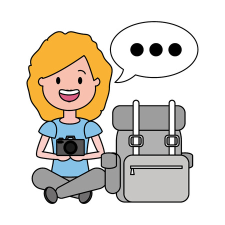 happy woman with camera travel bag tourist vector illustration