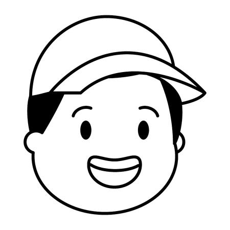 young man head with sport cap vector illustration Foto de archivo - 124740854