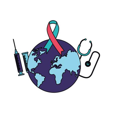 stethoscope syringe ribbon world health day vector illustration Illustration