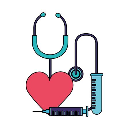 heart syringe stethoscope world health day vector illustration Foto de archivo - 124740863