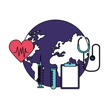 clipboard syringe stethoscope heartbeat world health day vector illustration Ilustração
