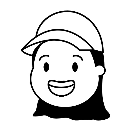 woman head with sport cap vector illustration