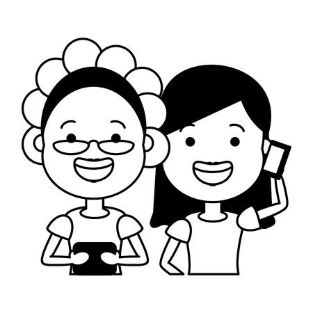 old woman and girl using mobile tech device vector illustration Banque d'images - 118221591
