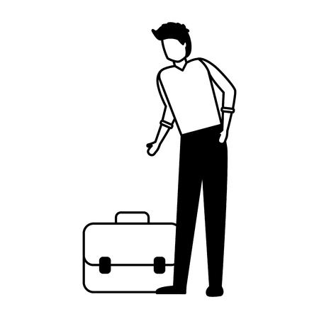 businessman with briefcase on white background vector illustration Çizim
