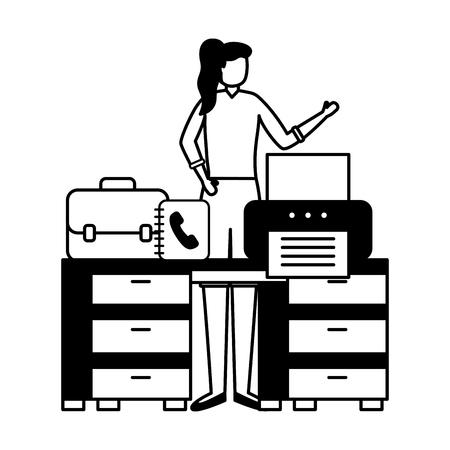 business woman work office desk printer book vector illustration Stock Illustratie
