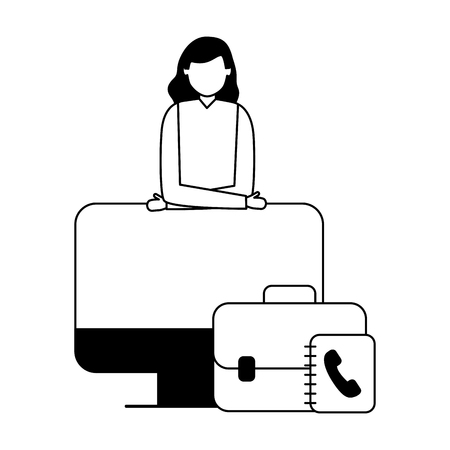 business woman office computer address book vector illustration Illustration
