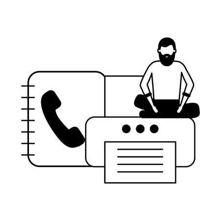 businessman work office printer address book vector illustration Stock Illustratie