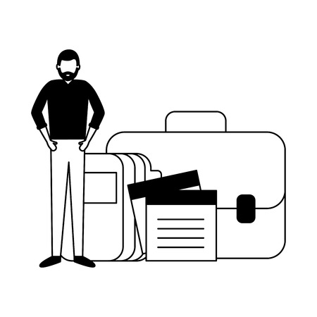 businessman work office portfolio folder note memo vector illustration