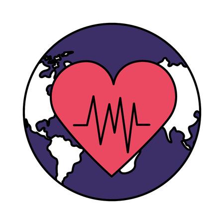 white background heartbeat world health day vector illustration Foto de archivo - 124740894