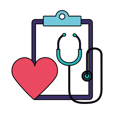 heartbeat stethoscope clipboard report world health day vector illustration