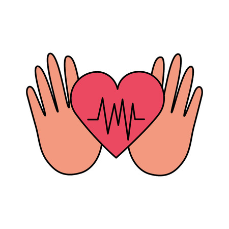 hands heartbeat world health day vector illustration Foto de archivo - 124740899