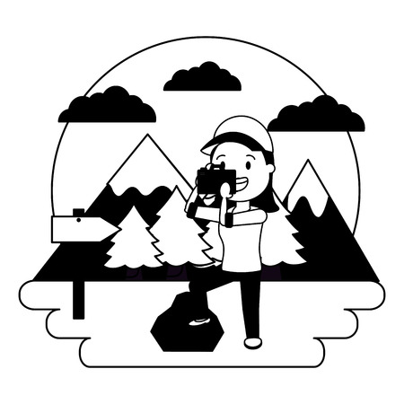 woman taking photo with camera camping landscape vector illustration Çizim