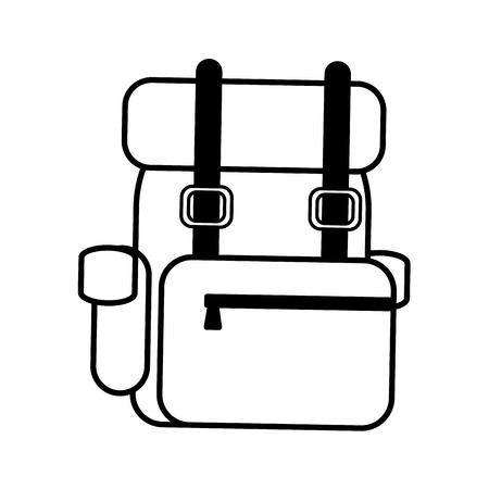 travel backpack outline on white background vector illustration