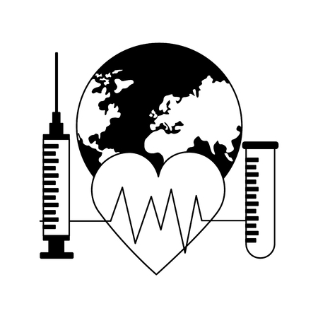 heartbeat syringe and pippete world health day vector illustration Foto de archivo - 124740912