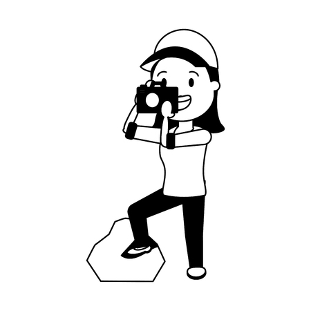 woman tourist taking photo with camera vector illustration Ilustrace