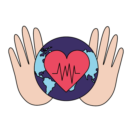 hands with heartbeat world health day vector illustration Illustration