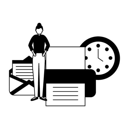 business woman work office printer email clock vector illustration Illustration