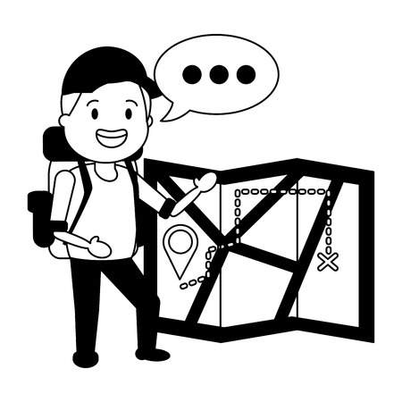 young man with map travel bag tourist vector illustration Çizim