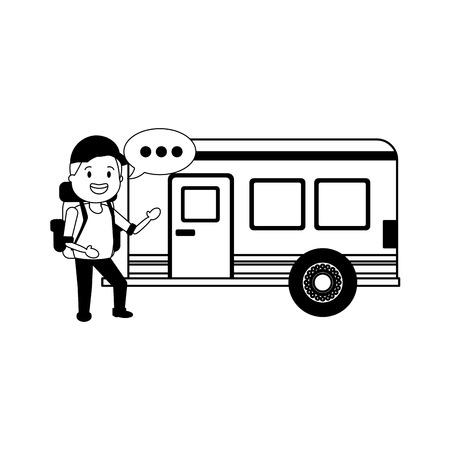 young man travel bag tourist camper trailer vector illustration