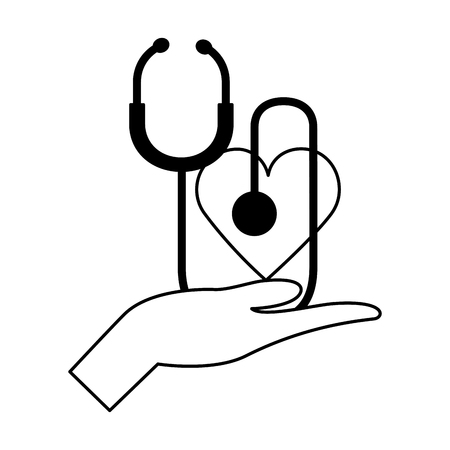 hand holding heart stethoscope world health day vector illustration Foto de archivo - 124740924