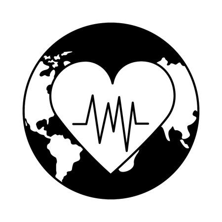 white background heartbeat world health day vector illustration Foto de archivo - 124740936