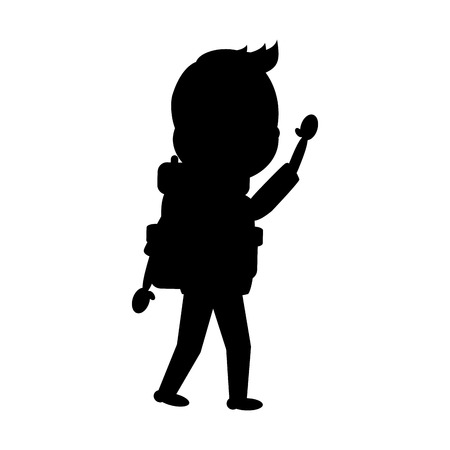 man tourist with backpack travel vector illustration 일러스트