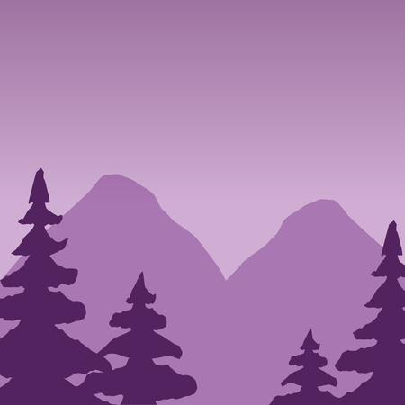 mountains trees forest wanderlust landscape vector illustration Çizim